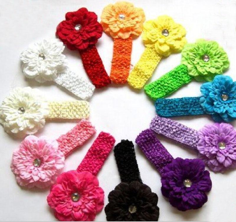 12pcs Per Set 12colors Baby Girls Rhinestone Big Peony Flower