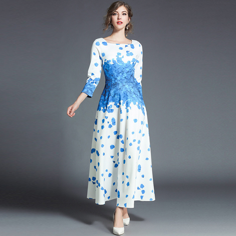 2018 Women Flower Print Dress 3 4 Sleeve Bohemian Femme White Loose Long Dresses Spring Casual Beach Maxi Dress Ladies Vestidos in Dresses from Women 39 s Clothing