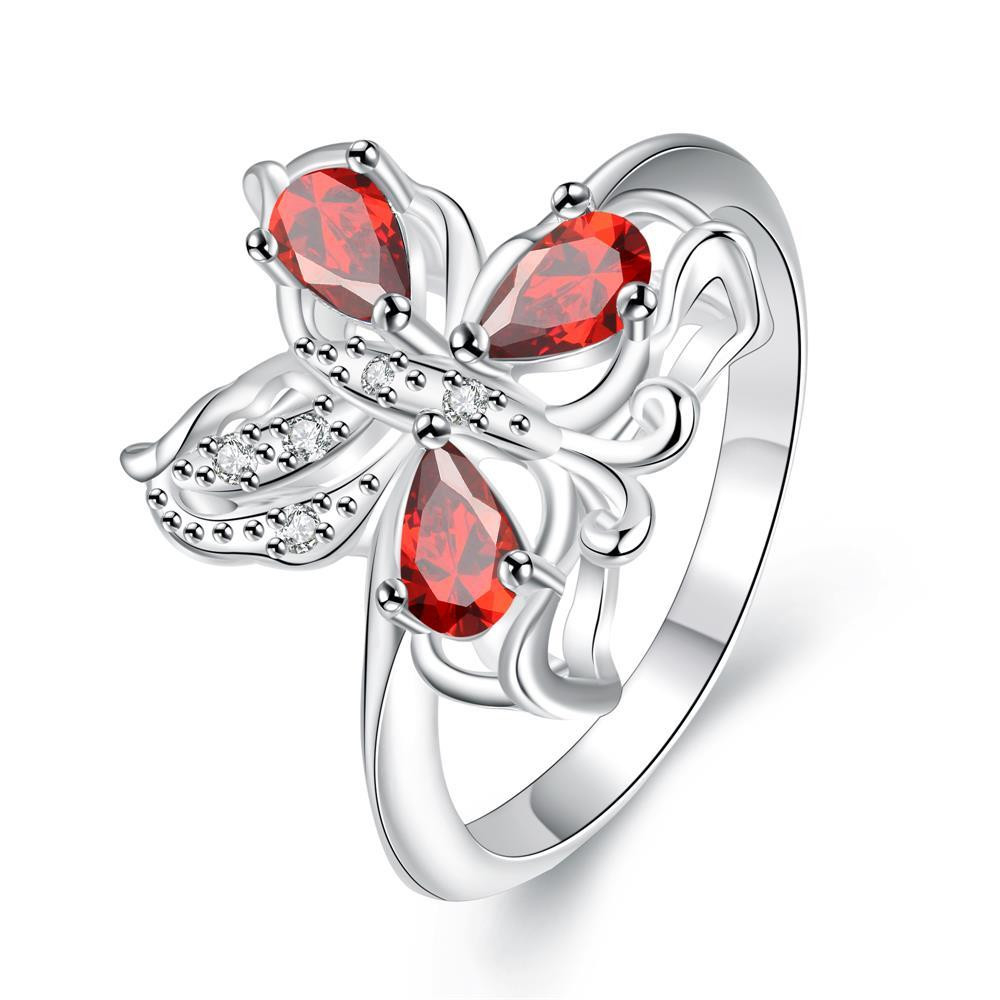 Trio-Ruby Red Clover Stud Petite Ring Size 8 коляска 2 в 1 chicco trio stylego red passion