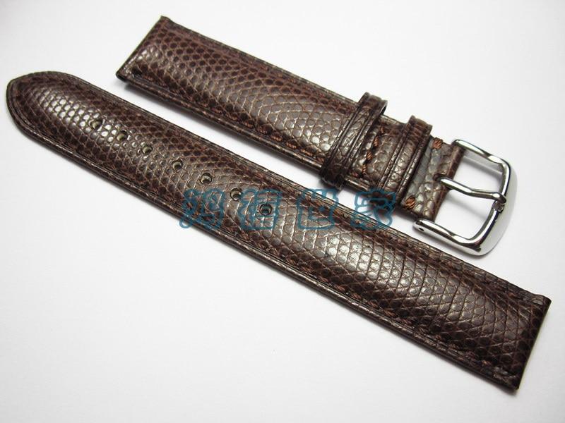 Fashion Genuine lizard leather Watchband 19MM 18MM 21MM 22MM bottom brown leather bracelet leather strap
