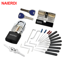 цена на NAIERDI Practice Lock Pick Set Transparent Visible Copper Padlock Locksmith Supplies For Training Skill Hand Tools Hardware