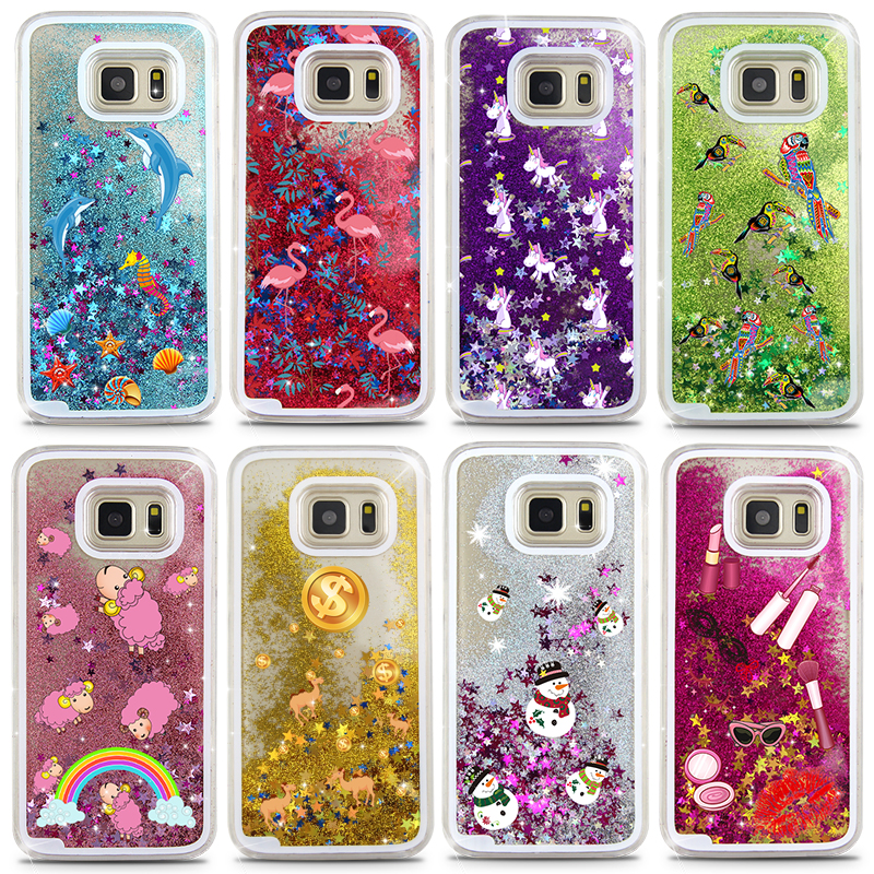 NEW Liquid Quicksand Cartoon Rainbow Unicorn Perfume Bottle Phone Case For Samsung Galaxy S7 S7edge S6 S6edge S5 S4