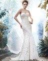 2016 Amdml Epítome de Noiva Tulle A Linha de Vestidos de Casamento Tribunal Trem Pescoço Namorada Exquisite Lace-Hem Forrado Vestidos de Noiva