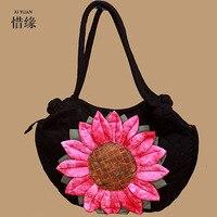 XIYUAN BRAND Women Linen Bags Shoulder Bolsos Chinese Handbag Retro Handmade Bolsa Feminina Embroidered Bag Ladies