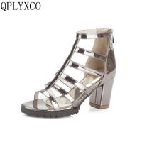 QPLYXCO Più Nuovo Modo sexy Sandali scarpe donna Big Size 33-46 Peep Toe Ankle Strap Tacchi Alti pompe partito Scarpe da sposa 5281