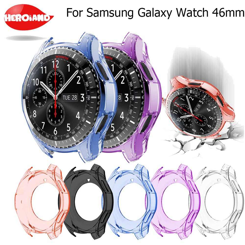 360 Degree TPU Protector Case Cover Shell For Samsung Galaxy Watch 42MM 46MM Gear S3 Frontier Frame Cases Protective Accessories