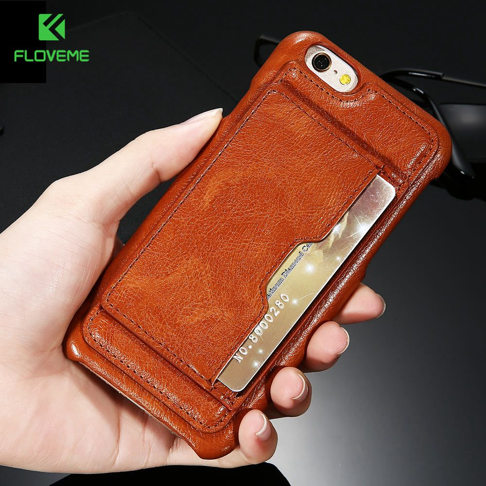 FLOVEME Vintage Leather Case For iPhone 6 6s Plus Case Card Slot Stand Holder Retro Phone