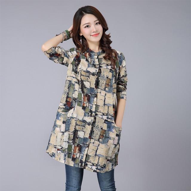 Women Blouses 2015 High Quality Vintage Painting Print Mid Length Linen Shirts  Women Long Sleeve Plaid fd4fc5187097