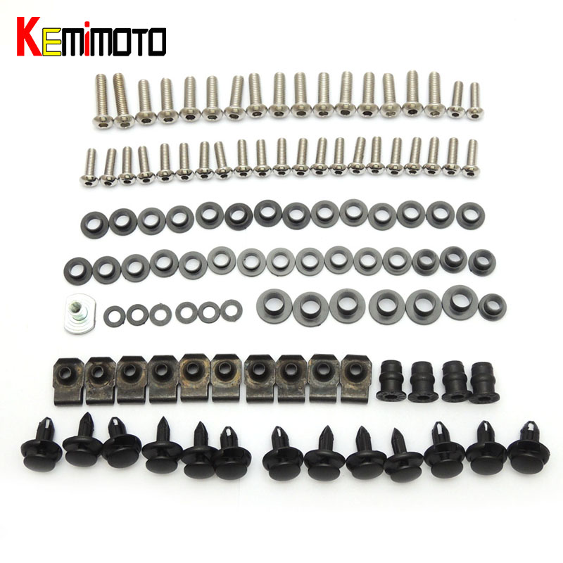 KEMiMOTO For Suzuki GSXR1000 2001 2002 Motorcycle Fairing Bolt Screw Fastener Nut Washer For Suzuki GSX-R600 750 2001 2002 2003