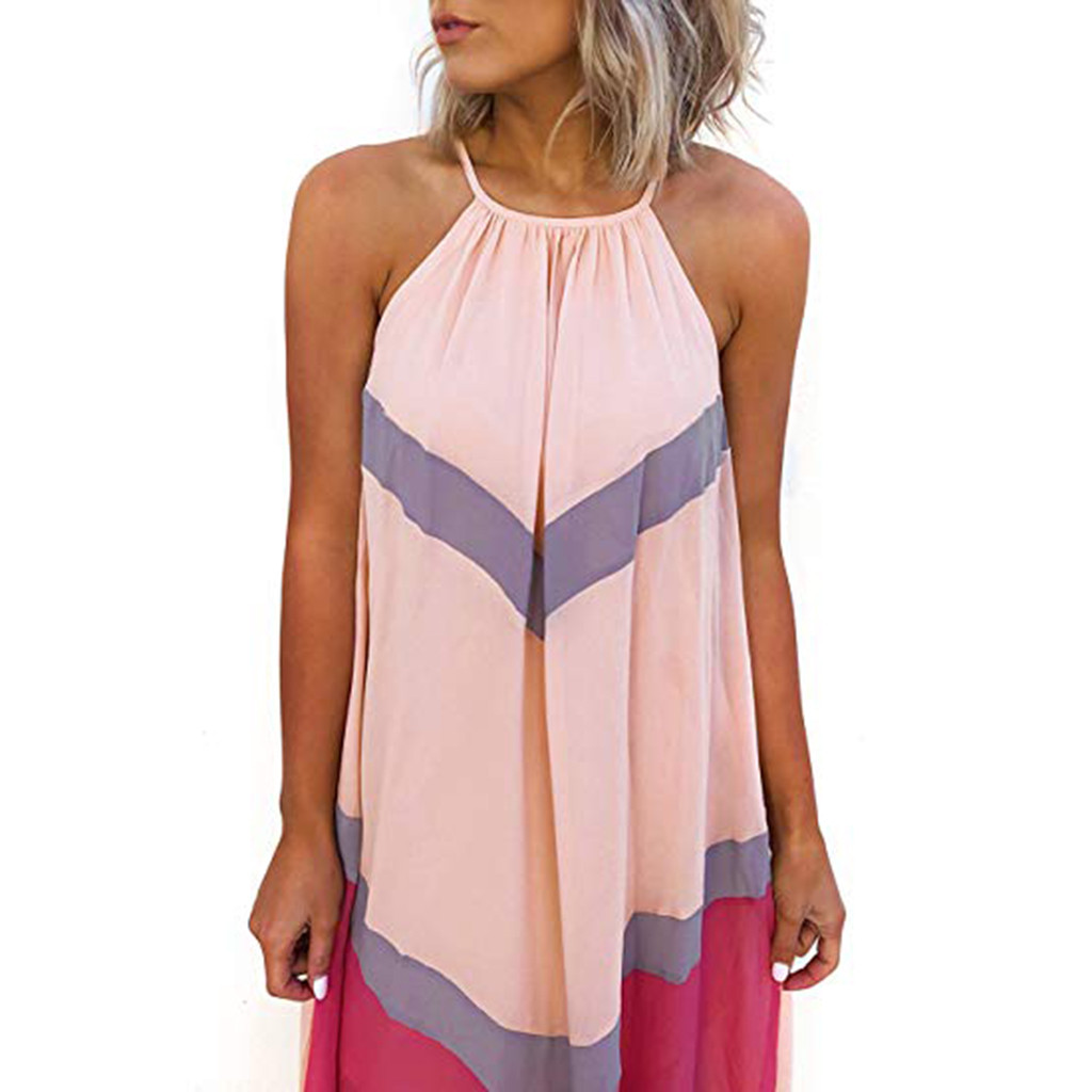 Summer Dresses Casual Fashion Elegant Dress Women's Halter Striped Color Patchwork Pleated Back Hollow Out Maxi Long Dress AD