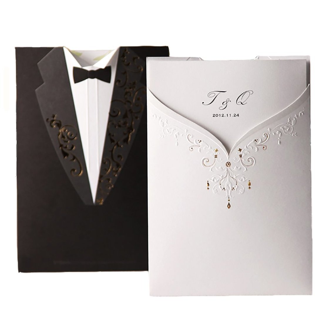 1Pcs Blank Black & White Laser Cut Acrylic Wedding Invitations Card, Groom And Bridal Tuxedo Invitation Marriage With Envelopes