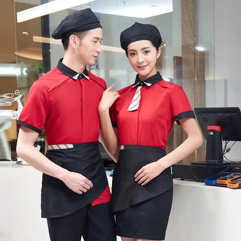 Кофе официант в кафе Униформа Западный Ресторан униформа официантки молочный чай магазин шеф-повара Униформа Рубашка + фартук питание обслуживание Рабочая одежда