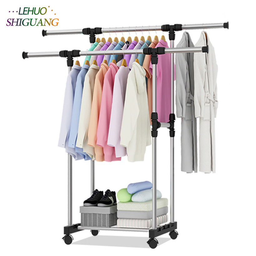 Stainless steel drying racks balcony adjustable double pole floor drying home living room bedroom hangers Coat rack Clothes rodStainless steel drying racks balcony adjustable double pole floor drying home living room bedroom hangers Coat rack Clothes rod