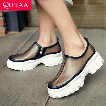QUTAA 2019 Women Shoes Platform Zipper All Match Cow Leather+pu Fashion Women Pumps Round Toe Wedges Women Pumps Size 34-39