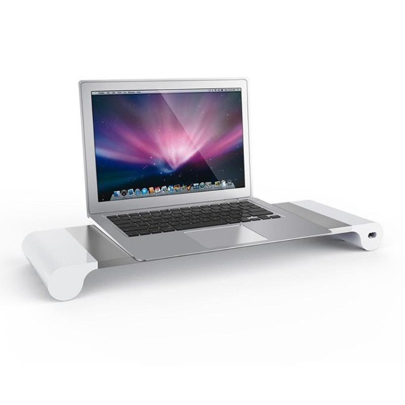 Enchufe de la UE de aleación de aluminio de soporte de Monitor espacio Bar Dock escritorio elevador con 4 puertos USB para iMac MacBook ordenador portátil gadgets