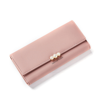 Women's Pearl Buckle Leather Wallet Bags and Wallets Hot Promotions New Arrivals Women's Wallets Color: Pink