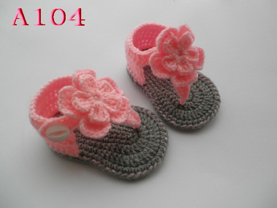 Free Shipping Crochet Baby Flower Shoes Double Sole Mix Design Kids