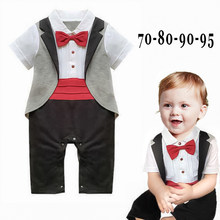 5130929a9 DHL EMS Free shipping Infants Baby boys Kids gentleman tuxedo One pc set  Romper overall bow Suit 70-80-90-95 Baby Boys Clothes