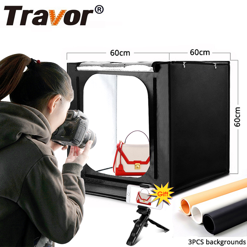 Image 2 - TRAVOR Light Box 60*60CM Portable Softbox Phone Lightbox With Three Color Background For Photo Studio tent Photography LED light-in Tabletop Shooting from Consumer Electronics