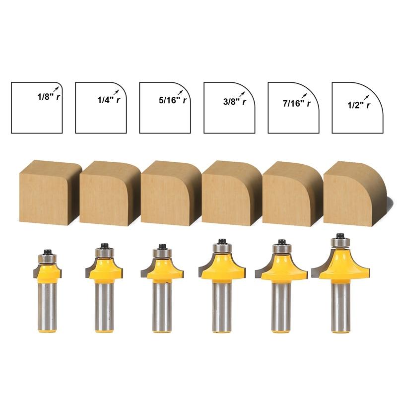 6pcs/lot Woodworking milling cutter Roundover Router Bit Set - 1/2
