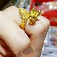 Горячая продажа Недвижимости 24 К Желтое Золото Кольцо Способа Мужские Повезло Благородный Голова Дракона Кольцо