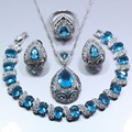 925 Sterling Silver Women 4PCS Jewelry Set Water Drop Natural Blue Created Topaz Ring Size 6/7/8/9/10 Bracelet 18CM Gift Z109