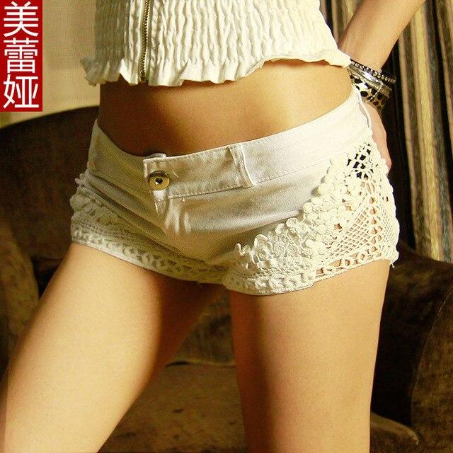 Free Shipping Autumn And Summer Han Edition Solid Lace Denim Low Waist Shorts Jeans De Cintura Alta Women's Skinny Women Shorts