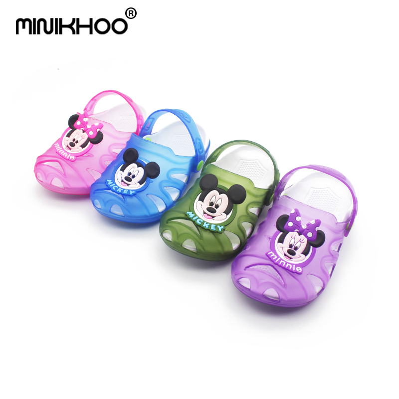 Mini Melissa LED Mickey Minnie Breathable Sandals 2017 Children Slippers Summer Cute Cartoon Children Baby Jelly Hole Shoes