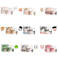 Bamboo Fiber Baby Five Piece Cartoon Tableware Set Children Bowl Plate Bowl Plate Forks Spoon Cup