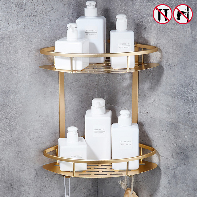 Nail Free Bathroom Shelf Gold Silver Shelves Shower Corner Shelf