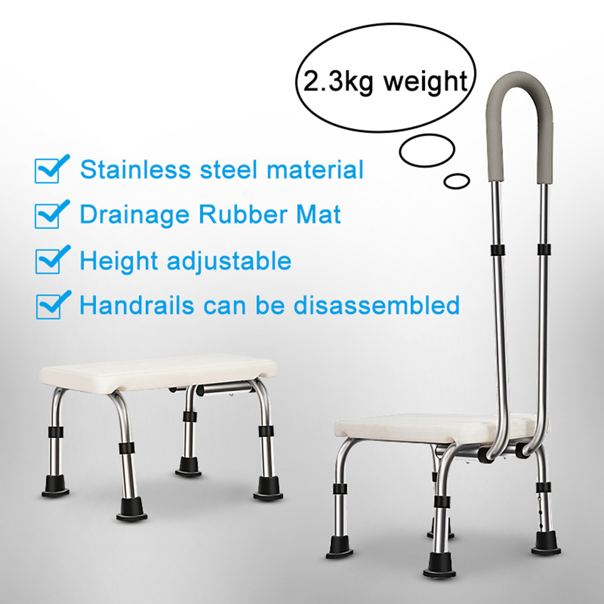 Adjustable Lightweight Bathtub & Shower Step Stool With Handle & Non-Slip Grip-Steel Holds Up To 330lbs For Elderly