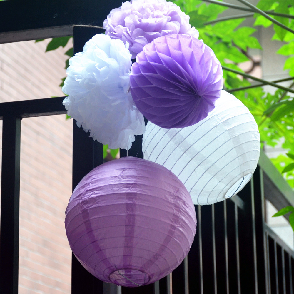 Paper Flowers Set Of Whitepurple Chinese Round Paper Lantern Pom