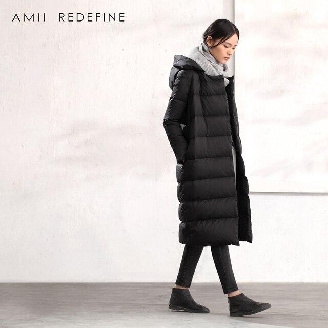 LYNETTE'S CHINOISERIE 2016 das mulheres plus size com um capuz outerwear over-the-knee alongar espessamento solto médio-casaco longo para baixo