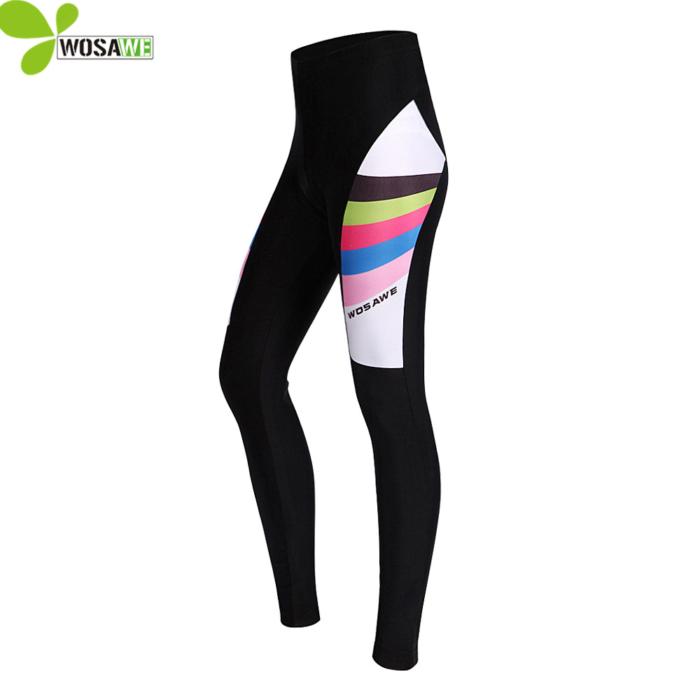 WOSAWE Women spring Cycling Pants 3D Gel Padded Mountain Bike Riding Bicycle bottoms ciclismo Tights Trousers long pants