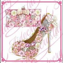 Aidocrystalสีชมพูมองลอดนิ้วเท้าปั๊มผู้หญิงรองเท้าส้นสูงG Litterคริสตัลจัดงานแต่งงานแพลตฟอร์มพรรครองเท้าอิตาลีและกระเป๋าชุด