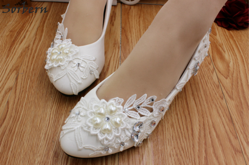 a98152565ebe Sorbern White Beaded Lace Flower Ladies Shoes For Wedding Low Heels  Comfortable Bridal Shoes Crystals Chunky Heels Squared Heel-in Women s  Pumps from Shoes ...