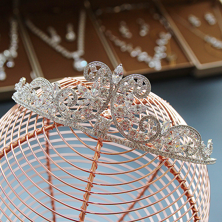 Paved CZ Crown Cubic Zircon Tiara Princess Tiaras Wedding Hair Accessories Bride Hair Jewelry Bijoux Cheveux Coroa WIGO1090 03 red gold bride wedding hair tiaras ancient chinese empress hat bride hair piece