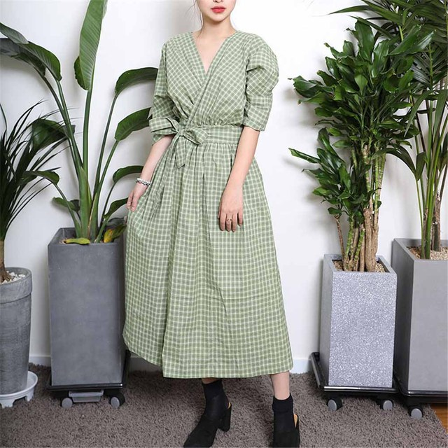 2018 Korean Style Casual Expansion Green Fashion Women Dresses Autumn Loose Plaid Belt High waist Girls Elegant Lovely Dress