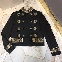 Черная куртка для женщин Весна китайский стиль куртка с длинными рукавами 2019 новый элегантный короткая верхняя одежда