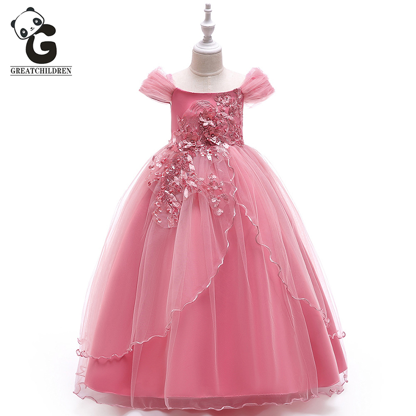Kids Girls Flower Lace Princess Dress Formal Wedding Party Prom Pageant Dresses