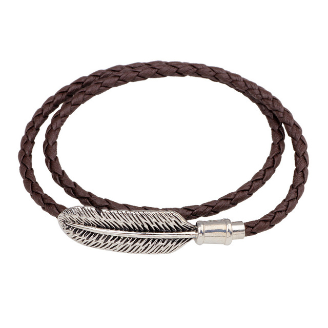 Women Handmade Black Brown Leather Bracelets Vintage Silver Leaf Pendant For Men Jewelry Magnetic Clasp