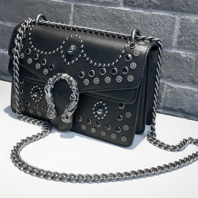 Luxury Brand Fashion Rivet Chain Women Casual Shoulder Bag Messenger Bag Retro Female Big Bag\Handbag Ladies Flap Motorcycle Bag denim vintage quilted across bag women s blue jean plaid stylish brand fashion flap chain crossbody shoulder bag purse handbag
