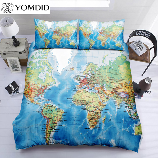 World map duvet cover sets map geography pattern printing bedding world map duvet cover sets map geography pattern printing bedding set duvet cover with pillowcases twin gumiabroncs Image collections
