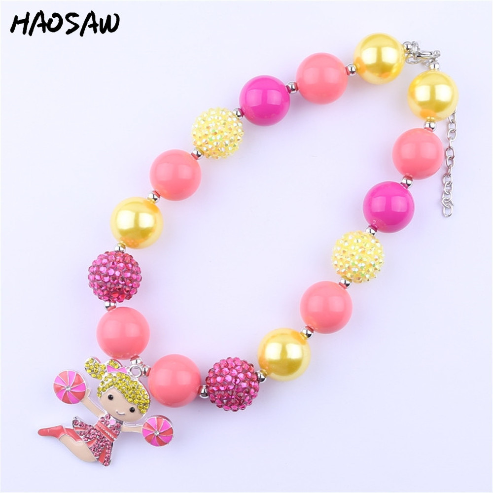 2Pcs/Lot Kids Chunky Bubblegum Necklace Cheer Leader Pendant Necklace Chunky Statement Necklace KQNL-601541