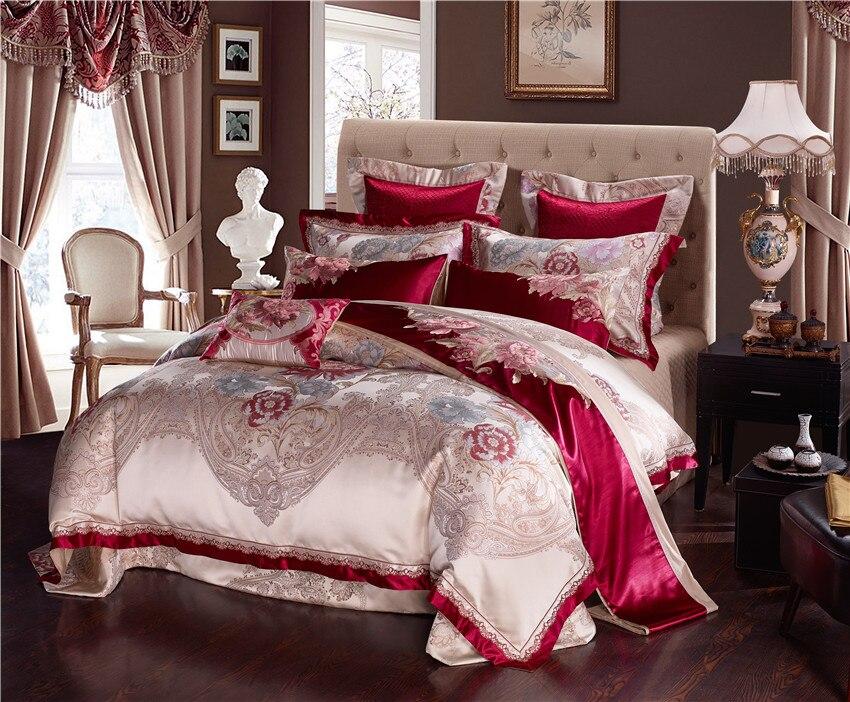 Golden Silk Cotton Luxury Satin Jacquard Bedding Set Queen King size Bedding Sets Bed Sheet Spread