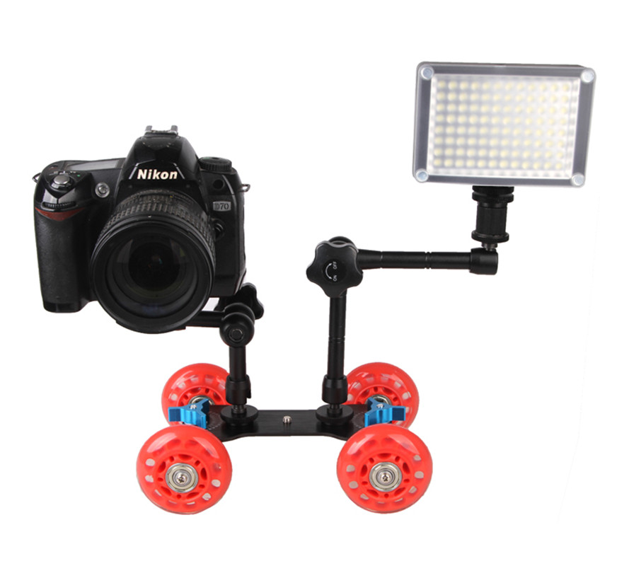 DSLR Camera video Photo railway rolling track slider Slider Dolly car for Speedlite flash DSLR Camera video camera Rig