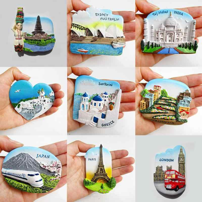 HOT Resin 3D Fridge Magnet San Francisco London Paris Japan Greece Sydney Bali Souvenir Landscape Fridge Magnet 9 Types #705
