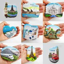 Resin 3D Fridge Magnet San Francisco London Paris Japan Greece Sydney Bali Souvenir Landscape Fridge Magnet 9 Types #705(China)