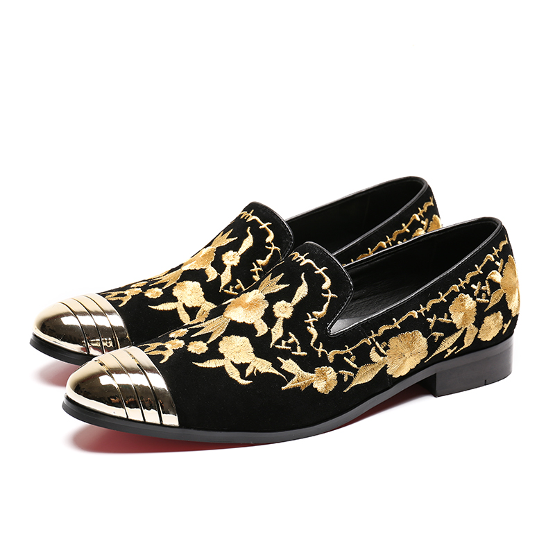 Christia Bella Gold Embroidery Men Loafers Suede Wedding Party Loafers  Formal Dress Shoes Smoking Slippers Men Flats Plus Size-in Men s Casual  Shoes from ... 4eb82f473320