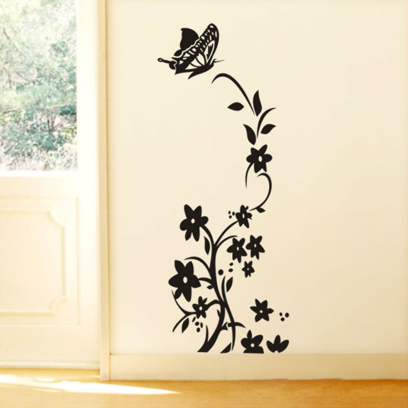 & vine flower butterfly wall stickers refrigerator decorations diy